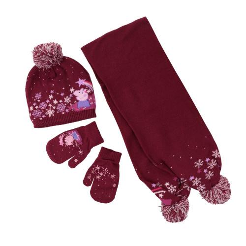 Căciuli - Regatta Peppa Pig Knitted Pom Pom Hat Scarf & Glove Set | Imbracaminte